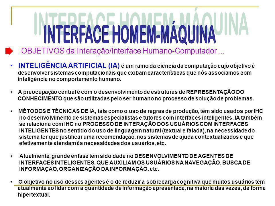 OBJETIVOS da Interação/Interface Humano-Computador... • INTELIGÊNCIA ARTIFICIAL (IA) é um ramo da ciência da computação cujo objetivo é desenvolver si