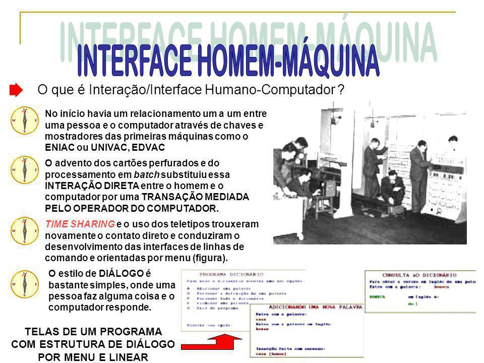 O que é Interação/Interface Humano-Computador ? No início havia um relacionamento um a um entre uma pessoa e o computador através de chaves e mostrado