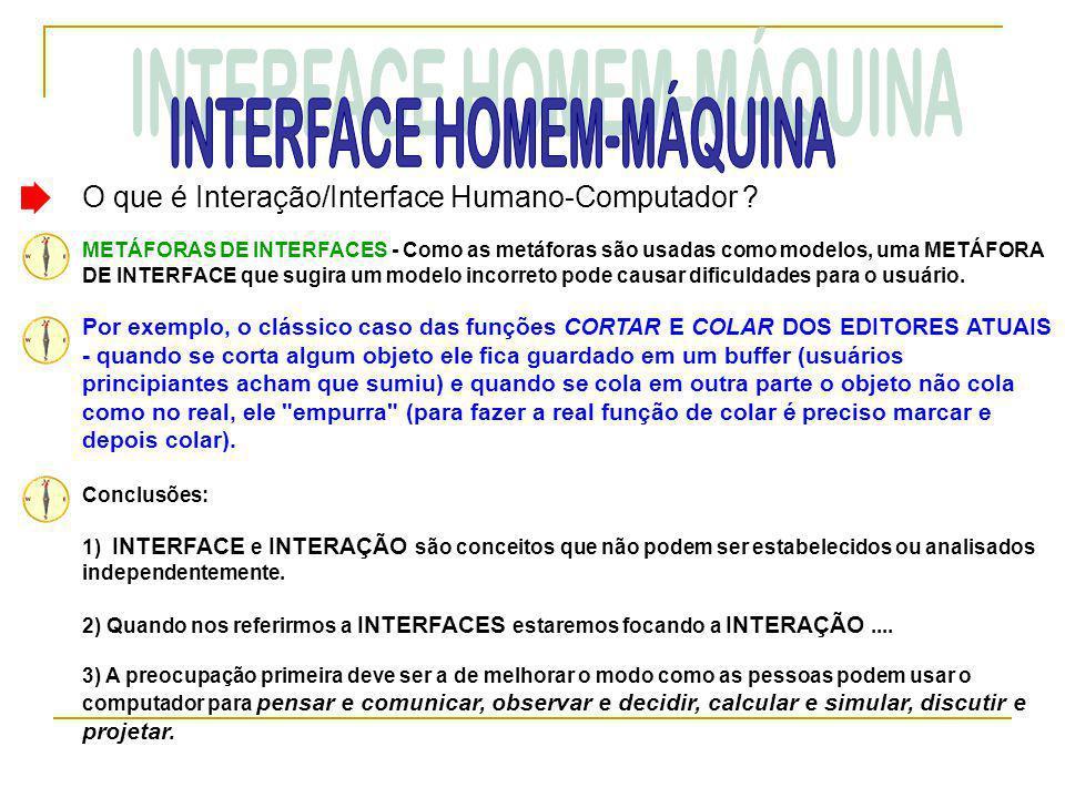 O que é Interação/Interface Humano-Computador ? METÁFORAS DE INTERFACES - Como as metáforas são usadas como modelos, uma METÁFORA DE INTERFACE que sug