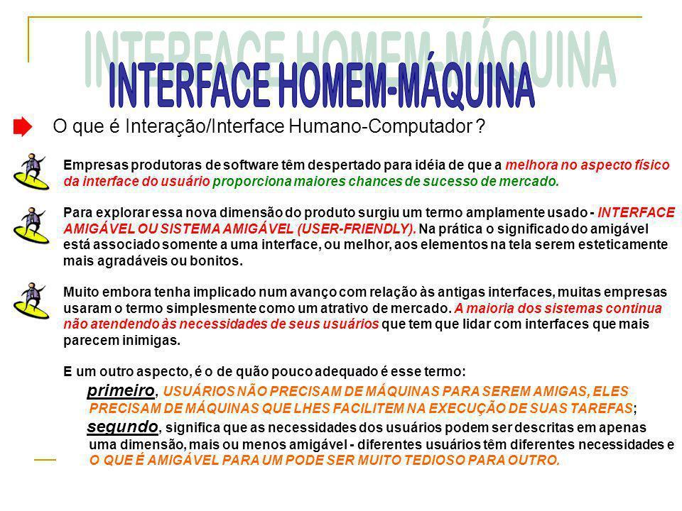 O que é Interação/Interface Humano-Computador ? Empresas produtoras de software têm despertado para idéia de que a melhora no aspecto físico da interf
