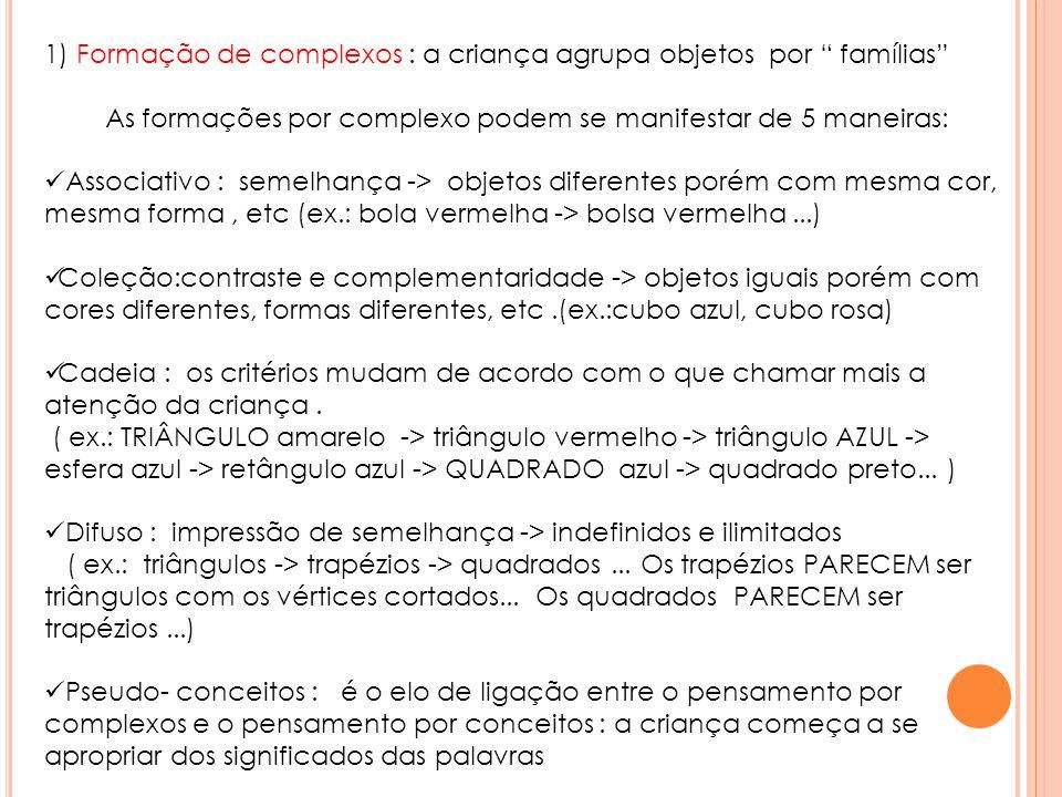 """1) Formação de complexos : a criança agrupa objetos por """" famílias"""" As formações por complexo podem se manifestar de 5 maneiras:  Associativo : semel"""