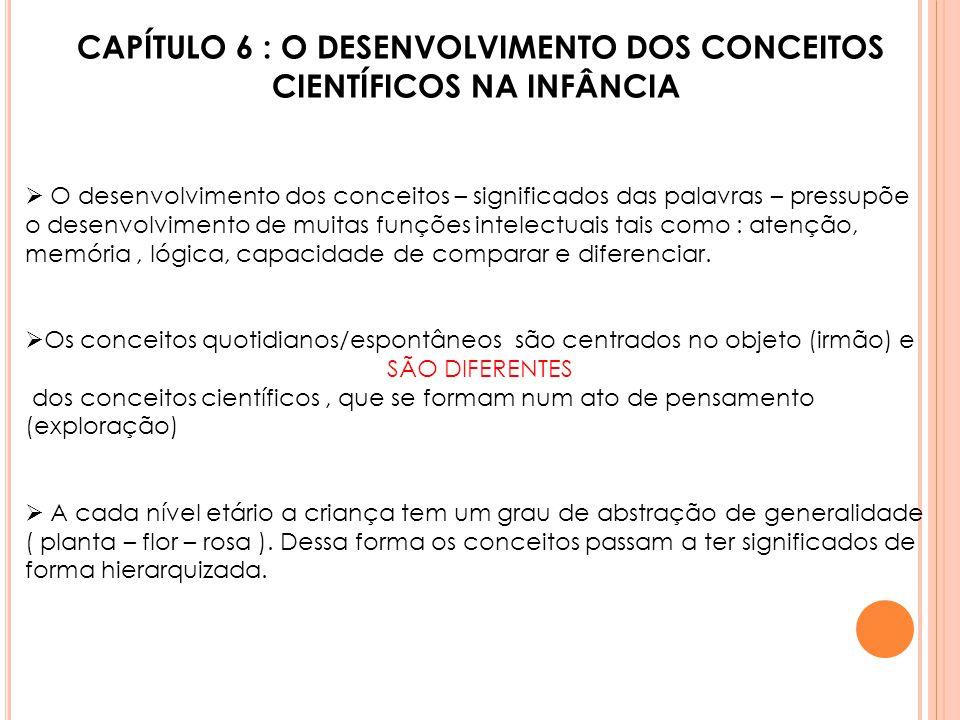 CAPÍTULO 6 : O DESENVOLVIMENTO DOS CONCEITOS CIENTÍFICOS NA INFÂNCIA  O desenvolvimento dos conceitos – significados das palavras – pressupõe o desen