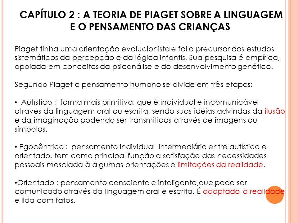 CAPÍTULO 2 : A TEORIA DE PIAGET SOBRE A LINGUAGEM E O PENSAMENTO DAS CRIANÇAS Piaget tinha uma orientação evolucionista e foi o precursor dos estudos