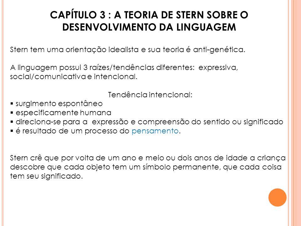 CAPÍTULO 3 : A TEORIA DE STERN SOBRE O DESENVOLVIMENTO DA LINGUAGEM Stern tem uma orientação idealista e sua teoria é anti-genética. A linguagem possu