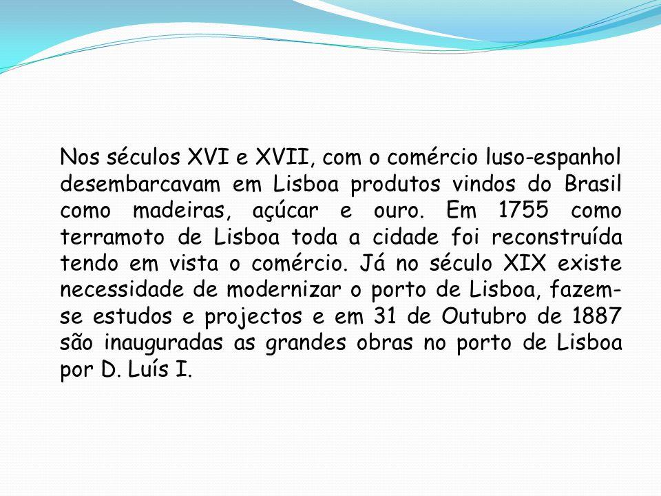 Nos séculos XVI e XVII, com o comércio luso-espanhol desembarcavam em Lisboa produtos vindos do Brasil como madeiras, açúcar e ouro.