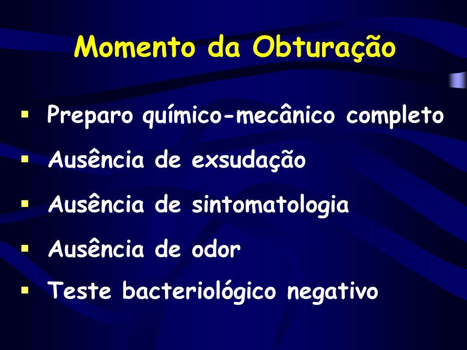  Preparo químico-mecânico completo  Ausência de exsudação  Ausência de sintomatologia  Ausência de odor  Teste bacteriológico negativo Momento da