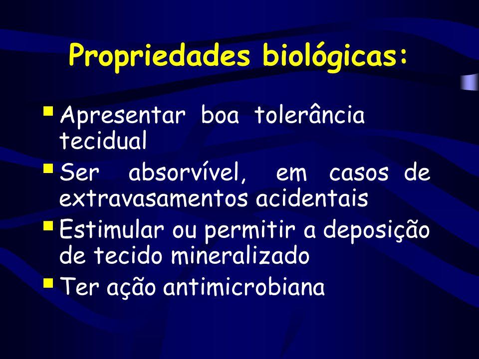 Propriedades biológicas:  Apresentar boa tolerância tecidual  Ser absorvível, em casos de extravasamentos acidentais  Estimular ou permitir a depos