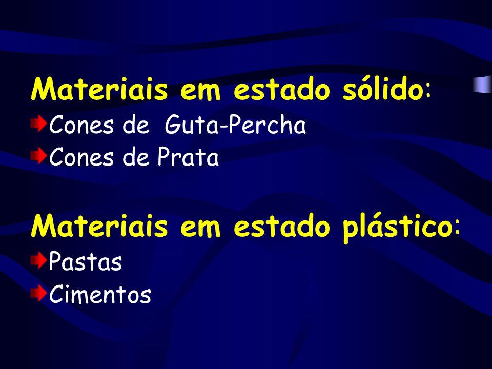 Materiais em estado sólido: Cones de Guta-Percha Cones de Prata Materiais em estado plástico: Pastas Cimentos