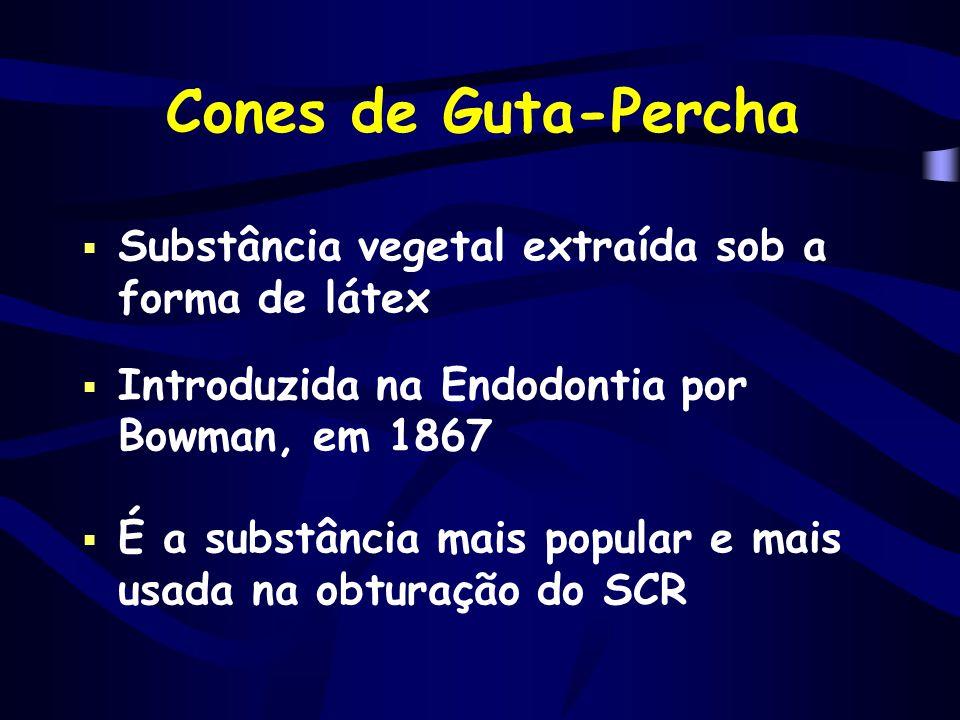 Cones de Guta-Percha  Substância vegetal extraída sob a forma de látex  Introduzida na Endodontia por Bowman, em 1867  É a substância mais popular
