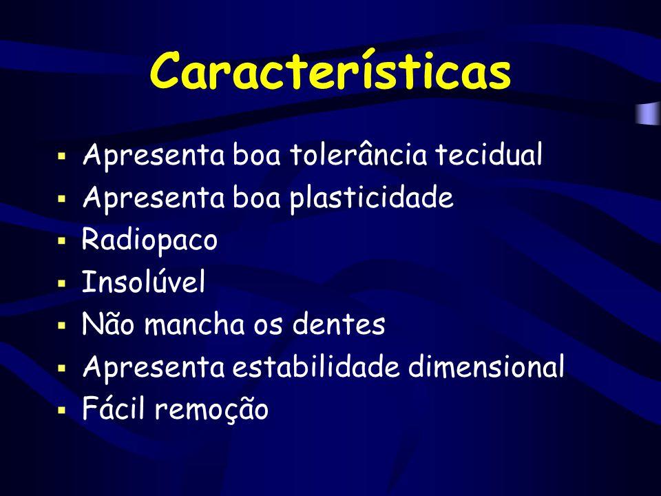 Características  Apresenta boa tolerância tecidual  Apresenta boa plasticidade  Radiopaco  Insolúvel  Não mancha os dentes  Apresenta estabilida
