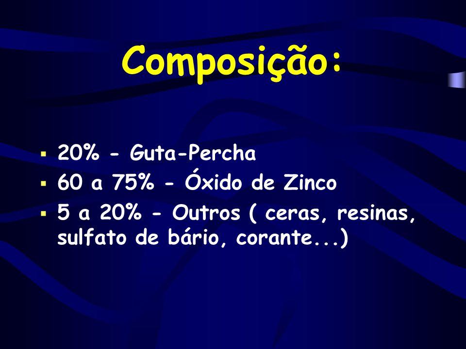 Composição:  20% - Guta-Percha  60 a 75% - Óxido de Zinco  5 a 20% - Outros ( ceras, resinas, sulfato de bário, corante...)