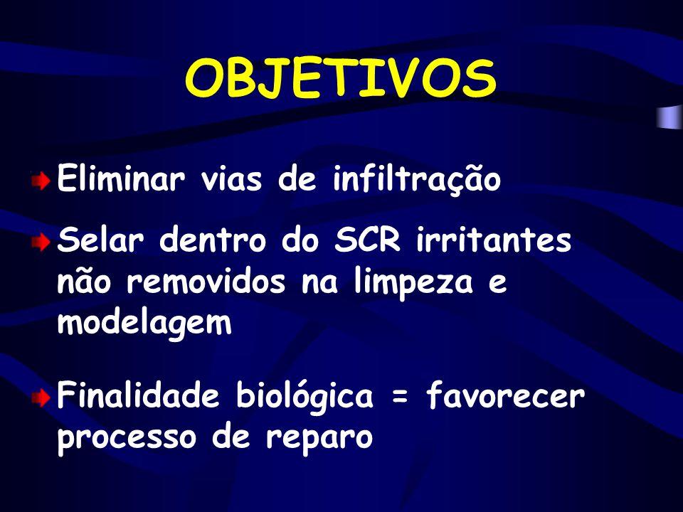OBJETIVOS Eliminar vias de infiltração Selar dentro do SCR irritantes não removidos na limpeza e modelagem Finalidade biológica = favorecer processo d