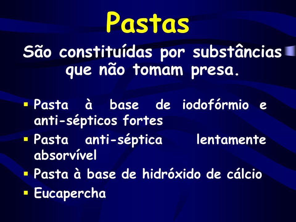 Pastas São constituídas por substâncias que não tomam presa.  Pasta à base de iodofórmio e anti-sépticos fortes  Pasta anti-séptica lentamente absor