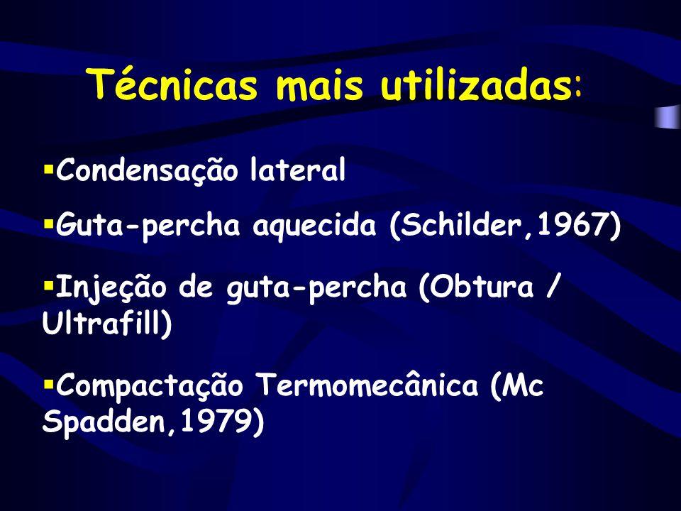 Técnicas mais utilizadas:  Condensação lateral  Guta-percha aquecida (Schilder,1967)  Injeção de guta-percha (Obtura / Ultrafill)  Compactação Ter