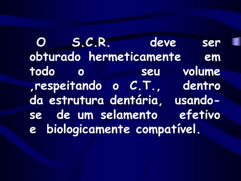 O S.C.R. deve ser obturado hermeticamente em todo o seu volume,respeitando o C.T., dentro da estrutura dentária, usando- se de um selamento efetivo e