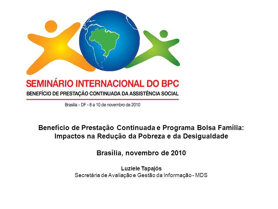 Benefício de Prestação Continuada e Programa Bolsa Família: Impactos na Redução da Pobreza e da Desigualdade Brasília, novembro de 2010 Luziele Tapajó