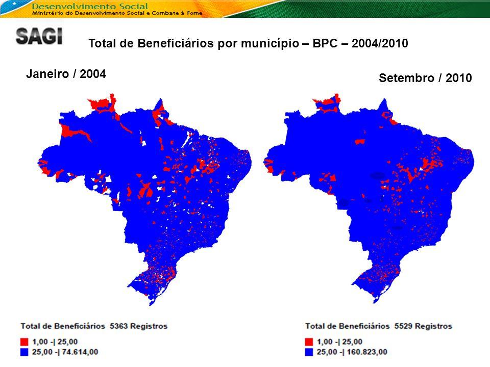 Total de Beneficiários por município – BPC – 2004/2010 Janeiro / 2004 Setembro / 2010
