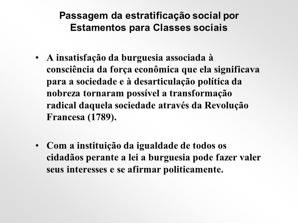CLASSES SOCIAIS •Com a extinção do sistema estamental de estratificação e a ascensão política da burguesia, nasce a sociedade de classes.