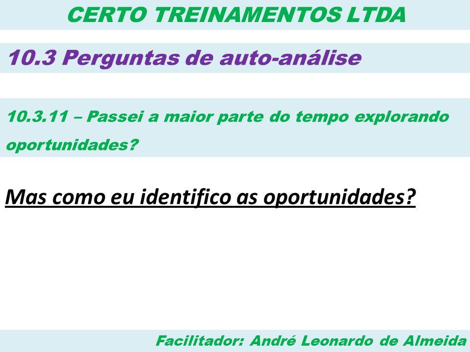Facilitador: André Leonardo de Almeida CERTO TREINAMENTOS LTDA 10.3 Perguntas de auto-análise 10.3.11 – Passei a maior parte do tempo explorando oport