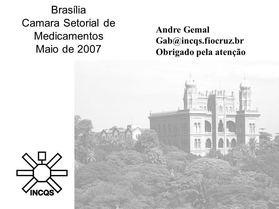 Brasília Camara Setorial de Medicamentos Maio de 2007 Andre Gemal Gab@incqs.fiocruz.br Obrigado pela atenção