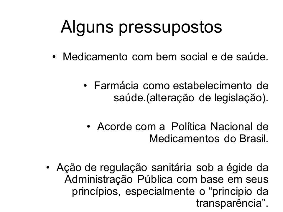 Alguns pressupostos •Medicamento com bem social e de saúde.