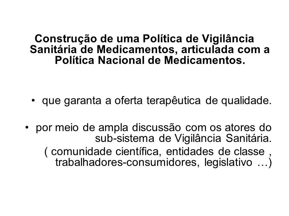 Construção de uma Política de Vigilância Sanitária de Medicamentos, articulada com a Política Nacional de Medicamentos.
