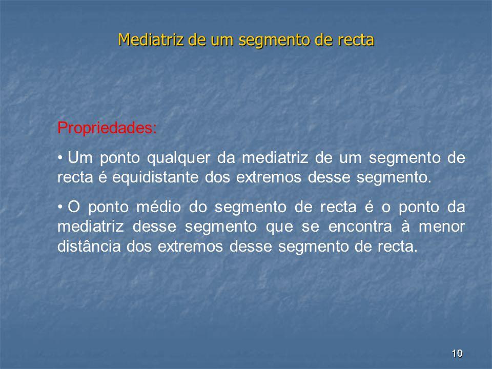 10 Mediatriz de um segmento de recta Propriedades: • Um ponto qualquer da mediatriz de um segmento de recta é equidistante dos extremos desse segmento