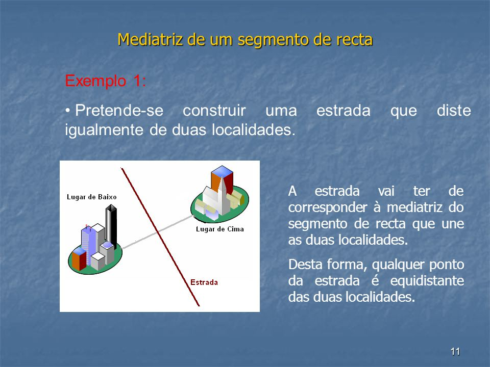 11 Mediatriz de um segmento de recta Exemplo 1: • Pretende-se construir uma estrada que diste igualmente de duas localidades. A estrada vai ter de cor