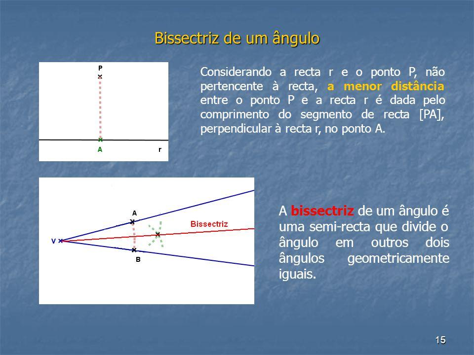 15 Bissectriz de um ângulo A bissectriz de um ângulo é uma semi-recta que divide o ângulo em outros dois ângulos geometricamente iguais. Considerando