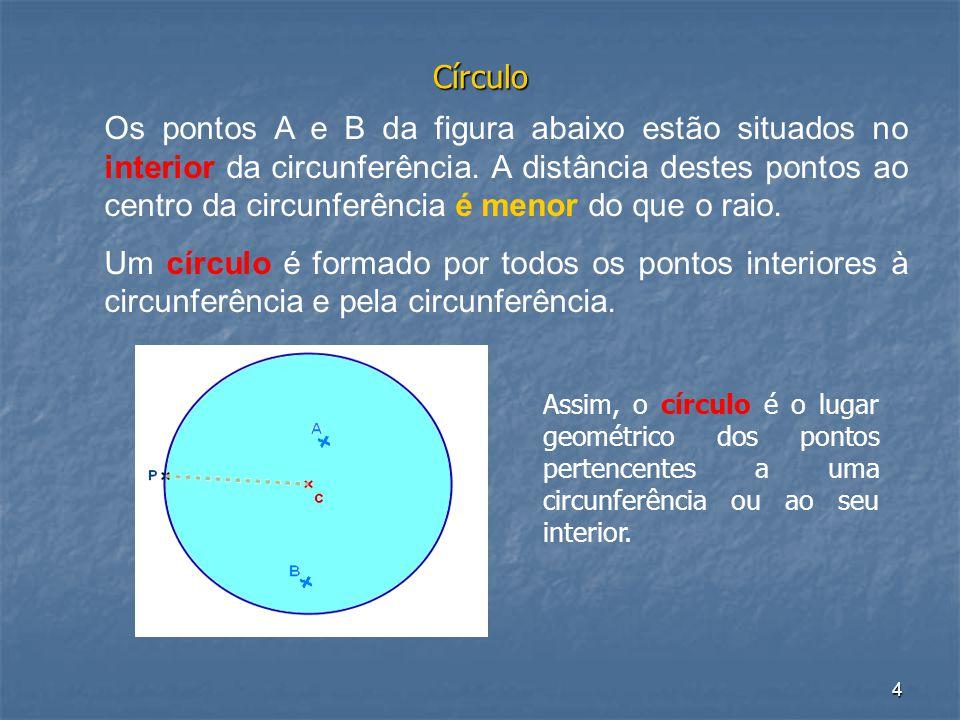 4 Círculo Os pontos A e B da figura abaixo estão situados no interior da circunferência. A distância destes pontos ao centro da circunferência é menor