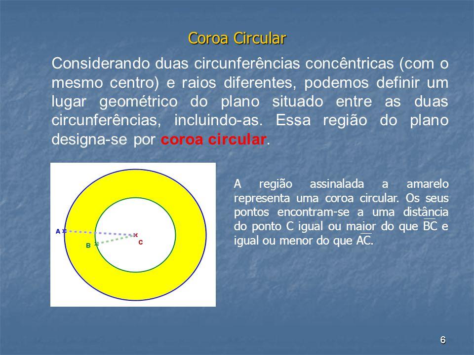 6 Coroa Circular Considerando duas circunferências concêntricas (com o mesmo centro) e raios diferentes, podemos definir um lugar geométrico do plano