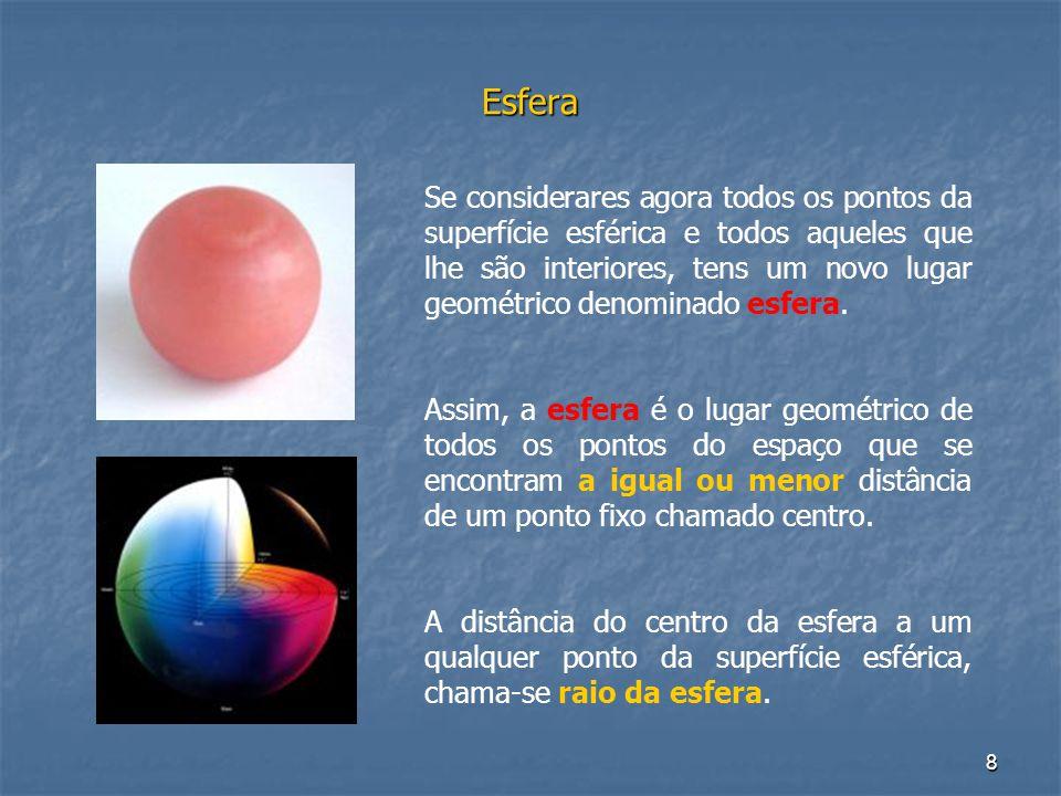 8 Esfera Se considerares agora todos os pontos da superfície esférica e todos aqueles que lhe são interiores, tens um novo lugar geométrico denominado