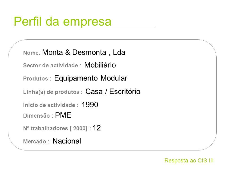 Resposta ao CIS III Perfil da empresa Nome: Monta & Desmonta, Lda Sector de actividade : Mobiliário Produtos : Equipamento Modular Linha(s) de produto