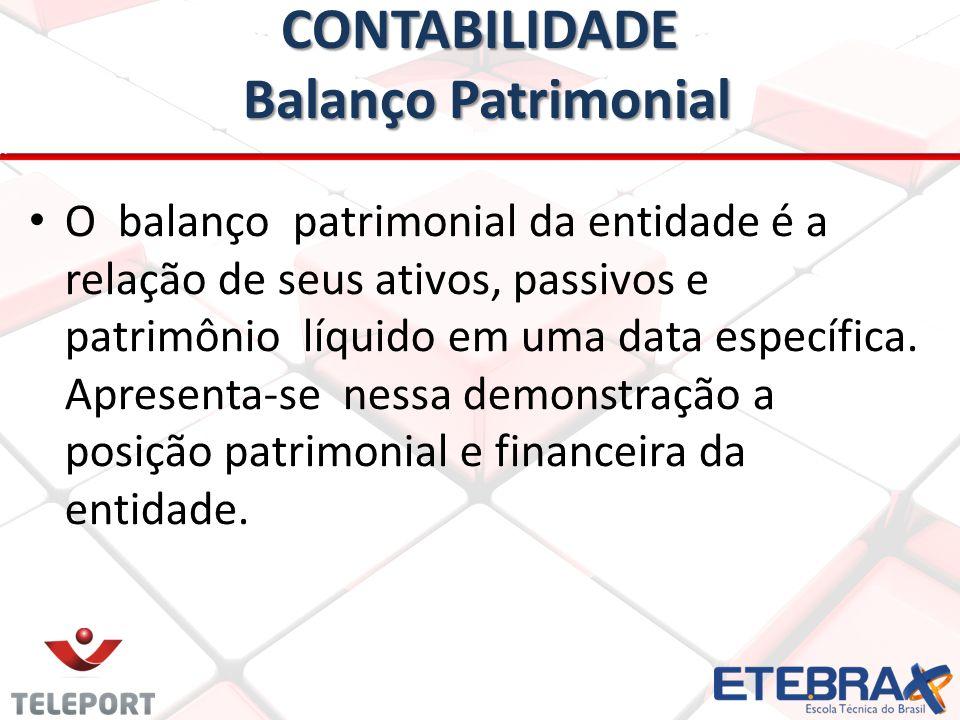 CONTABILIDADE Balanço Patrimonial • • O balanço patrimonial da entidade é a relação de seus ativos, passivos e patrimônio líquido em uma data específi