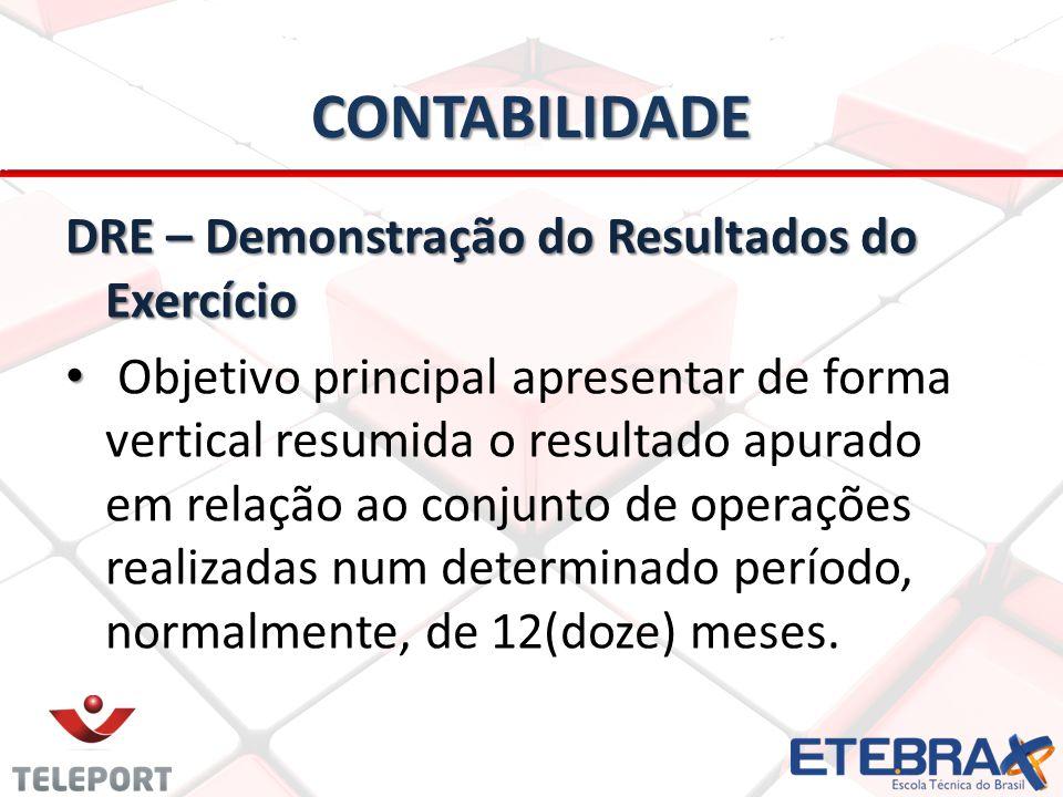 CONTABILIDADE DRE – Demonstração do Resultados do Exercício • • Objetivo principal apresentar de forma vertical resumida o resultado apurado em relaçã