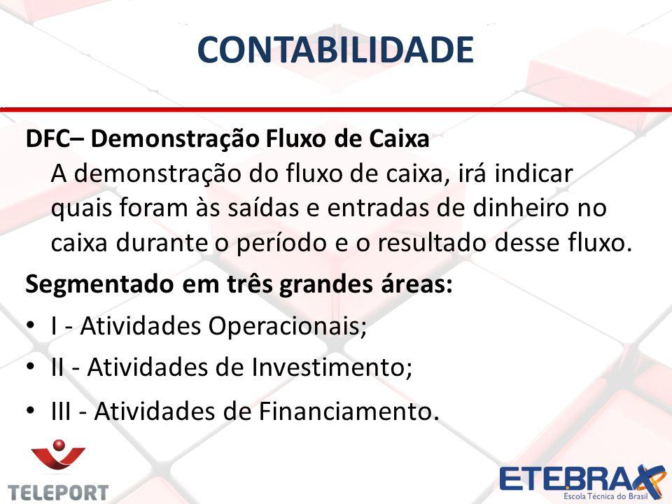 CONTABILIDADE DFC– Demonstração Fluxo de Caixa A demonstração do fluxo de caixa, irá indicar quais foram às saídas e entradas de dinheiro no caixa dur