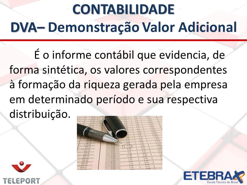 CONTABILIDADE DVA– CONTABILIDADE DVA– Demonstração Valor Adicional É o informe contábil que evidencia, de forma sintética, os valores correspondentes