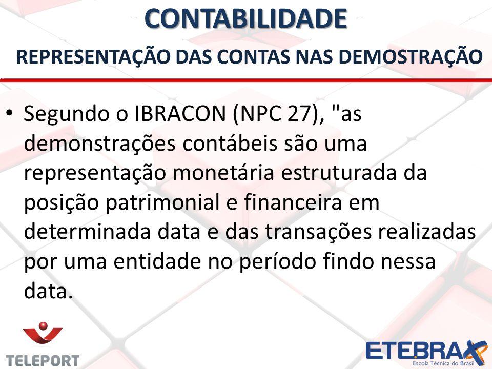 CONTABILIDADE CONTABILIDADE REPRESENTAÇÃO DAS CONTAS NAS DEMOSTRAÇÃO • Segundo o IBRACON (NPC 27),