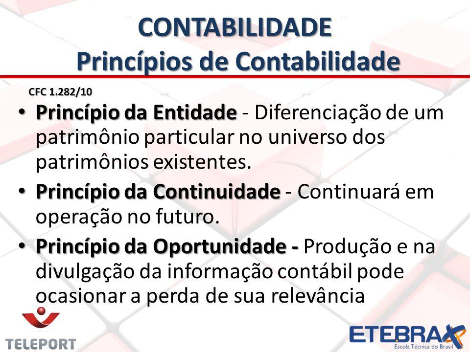 CONTABILIDADE Princípios de Contabilidade CFC 1.282/10 • Princípio da Entidade • Princípio da Entidade - Diferenciação de um patrimônio particular no