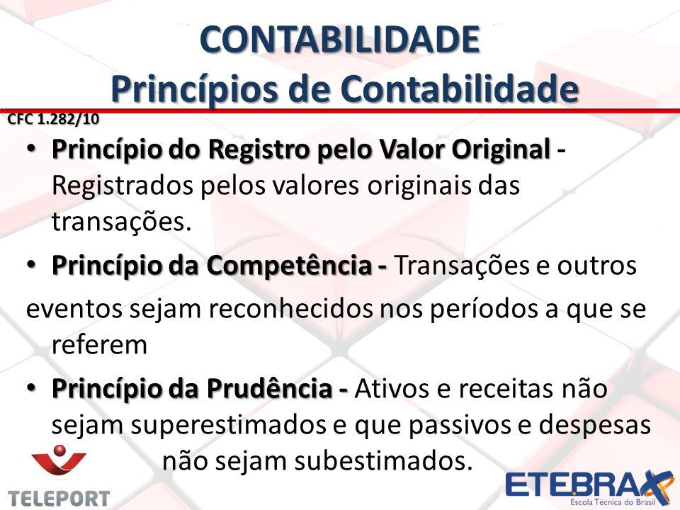 CONTABILIDADE Princípios de Contabilidade CFC 1.282/10 • Princípio do Registro pelo Valor Original • Princípio do Registro pelo Valor Original - Regis