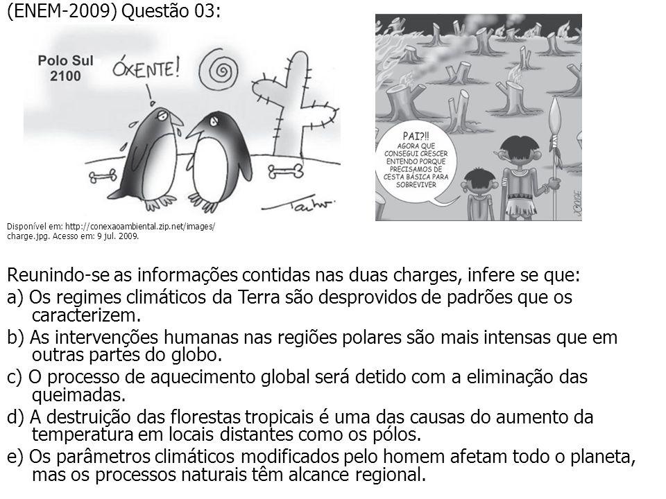 (ENEM-2009) Questão 03: Disponível em: http://conexaoambiental.zip.net/images/ charge.jpg. Acesso em: 9 jul. 2009. Reunindo-se as informações contidas