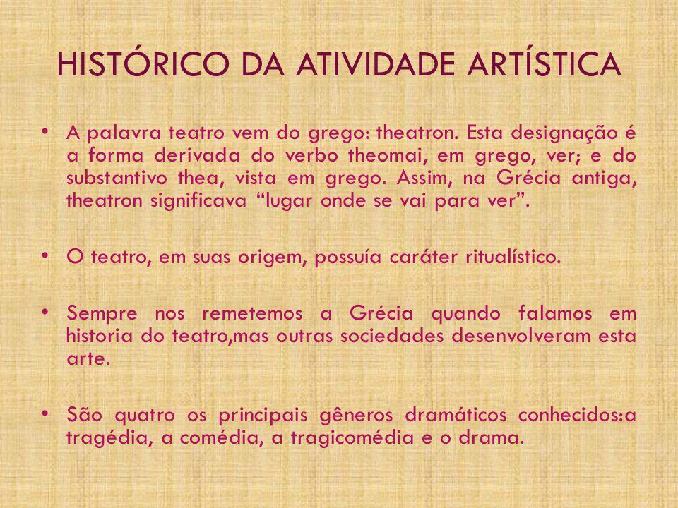 HISTÓRICO DA ATIVIDADE ARTÍSTICA • A palavra teatro vem do grego: theatron. Esta designação é a forma derivada do verbo theomai, em grego, ver; e do s