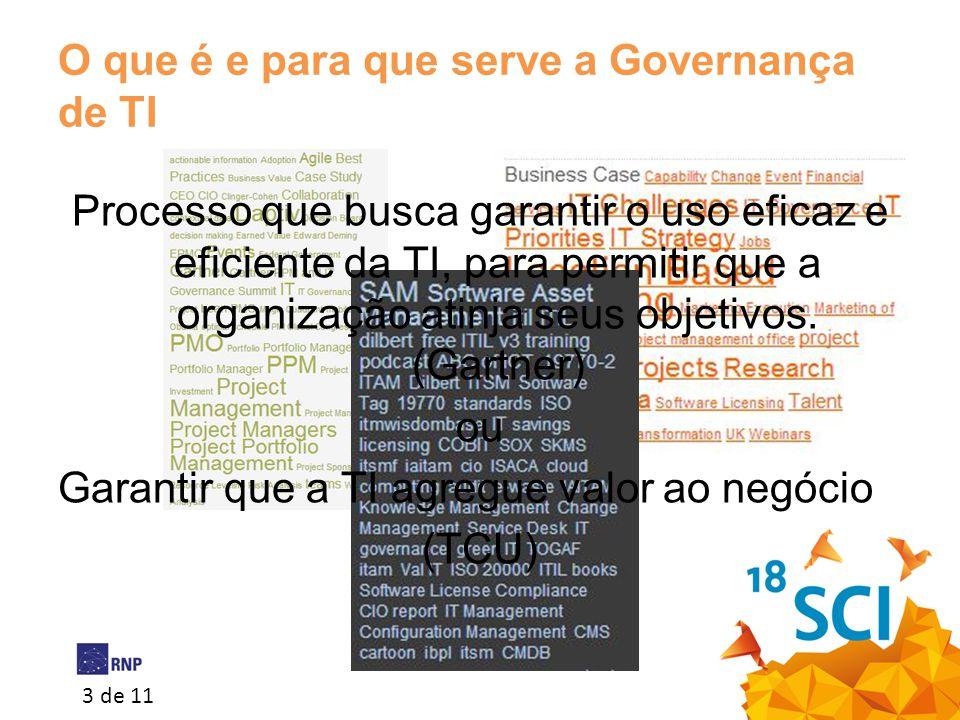 3 de 11 O que é e para que serve a Governança de TI Processo que busca garantir o uso eficaz e eficiente da TI, para permitir que a organização atinja