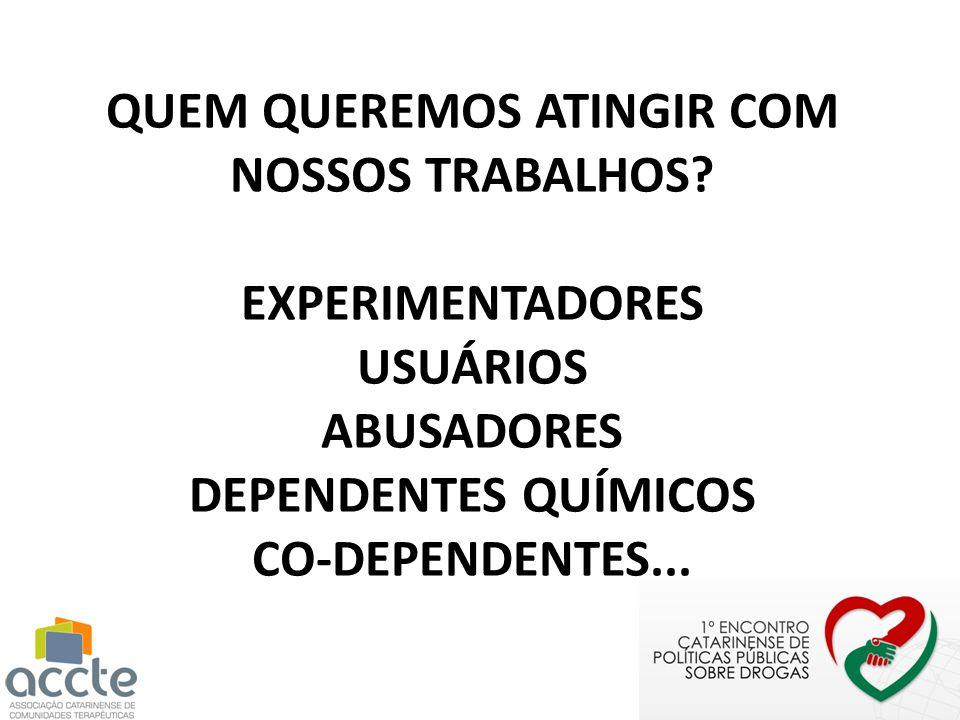 QUEM QUEREMOS ATINGIR COM NOSSOS TRABALHOS? EXPERIMENTADORES USUÁRIOS ABUSADORES DEPENDENTES QUÍMICOS CO-DEPENDENTES...