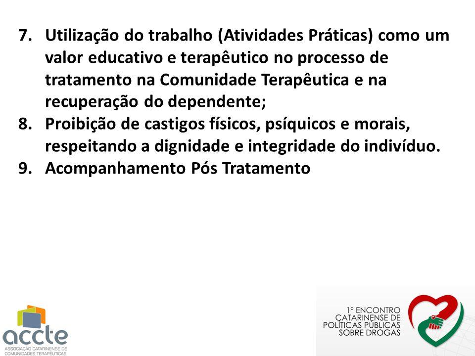 7.Utilização do trabalho (Atividades Práticas) como um valor educativo e terapêutico no processo de tratamento na Comunidade Terapêutica e na recupera