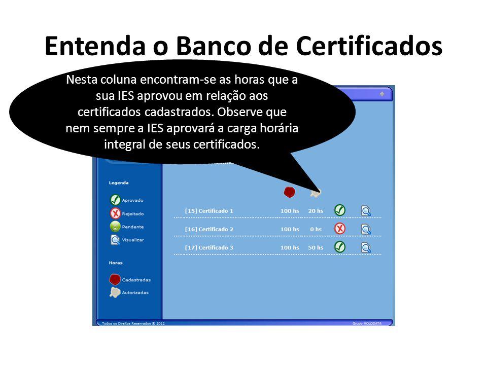 Entenda o Banco de Certificados Nesta coluna encontram-se as horas que a sua IES aprovou em relação aos certificados cadastrados. Observe que nem semp