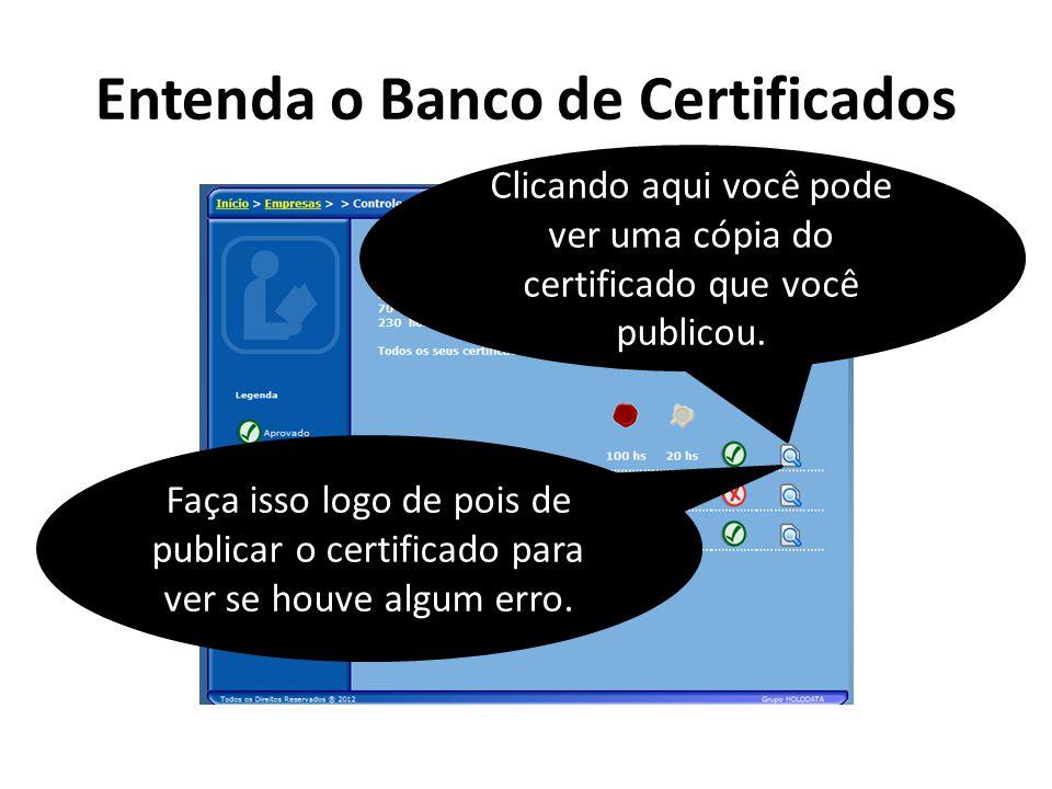 Entenda o Banco de Certificados Clicando aqui você pode ver uma cópia do certificado que você publicou. Faça isso logo de pois de publicar o certifica