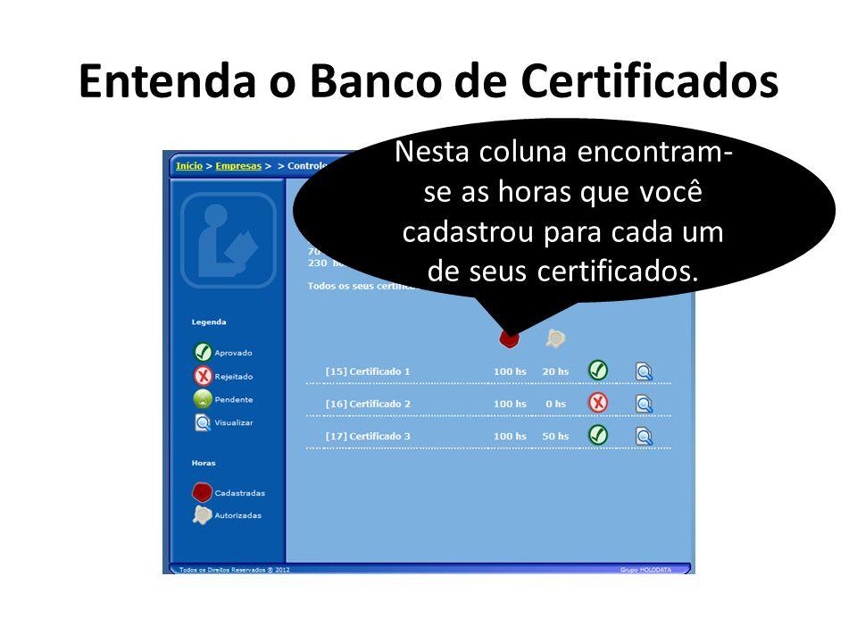 Entenda o Banco de Certificados Nesta coluna encontram- se as horas que você cadastrou para cada um de seus certificados.