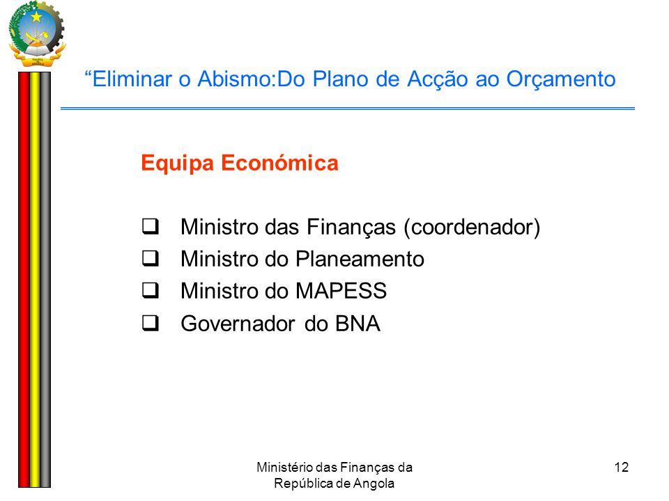 """Ministério das Finanças da República de Angola 12 """"Eliminar o Abismo:Do Plano de Acção ao Orçamento Equipa Económica  Ministro das Finanças (coordena"""