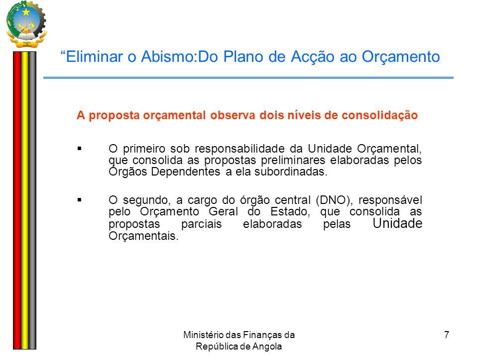"""Ministério das Finanças da República de Angola 7 """"Eliminar o Abismo:Do Plano de Acção ao Orçamento A proposta orçamental observa dois níveis de consol"""